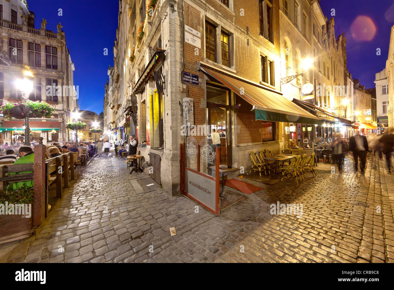 Restaurants in Grote Markt, Grand Place, Brussels, Belgium, Benelux, Europe Stock Photo