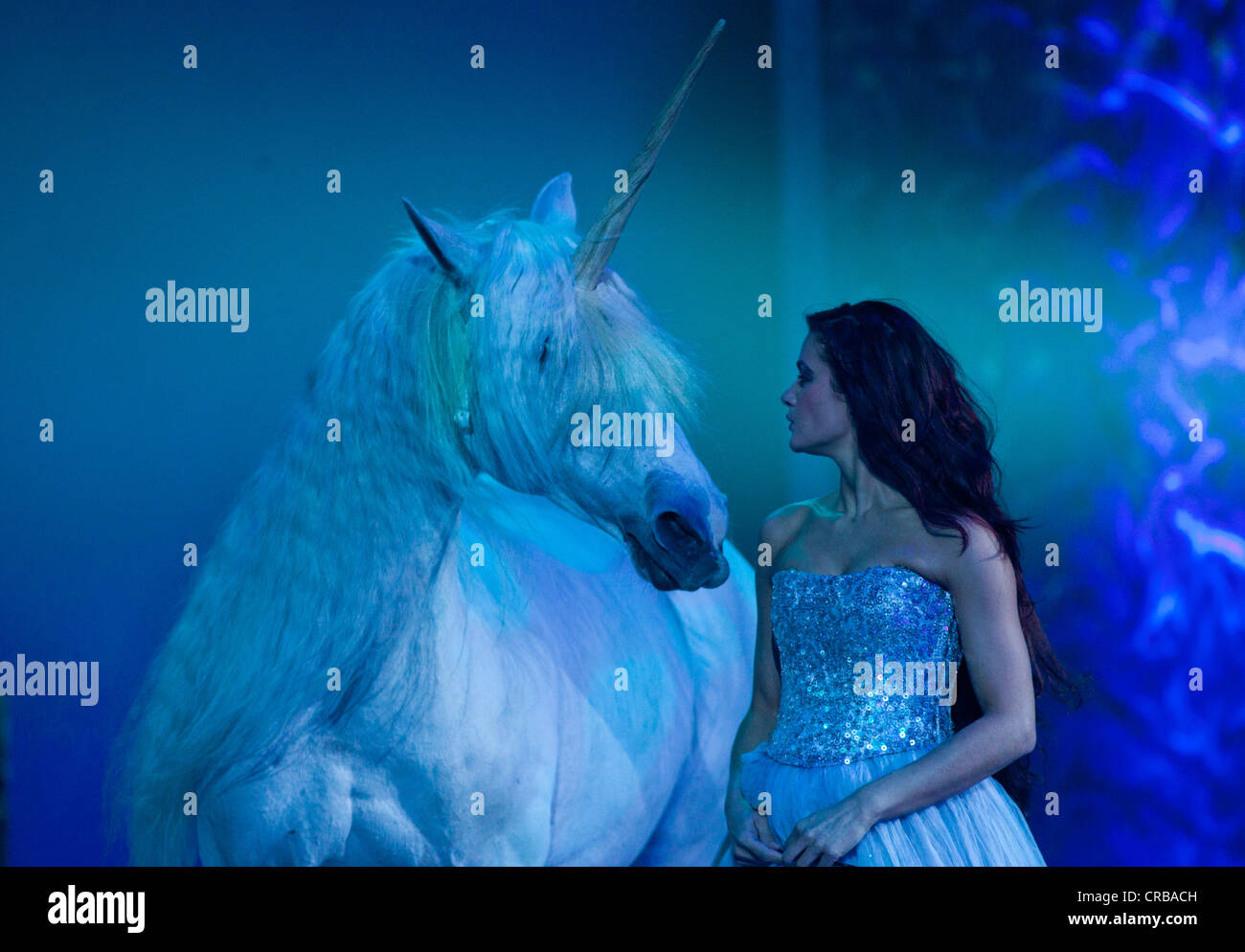 Horse as a unicorn, Magnifico, show by André Heller, world premiere on 08.02.2011, Munich, Bavaria, Germany, Europe Stock Photo