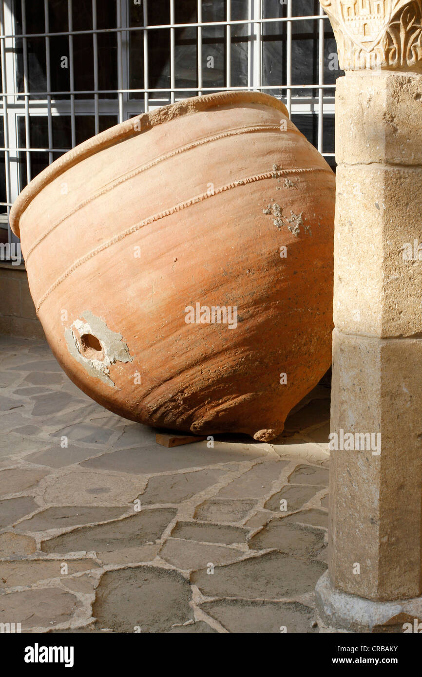 Old amphorae in the Folk Art Museum in the old city of Nicosia, Cyprus, Europe - Stock Image