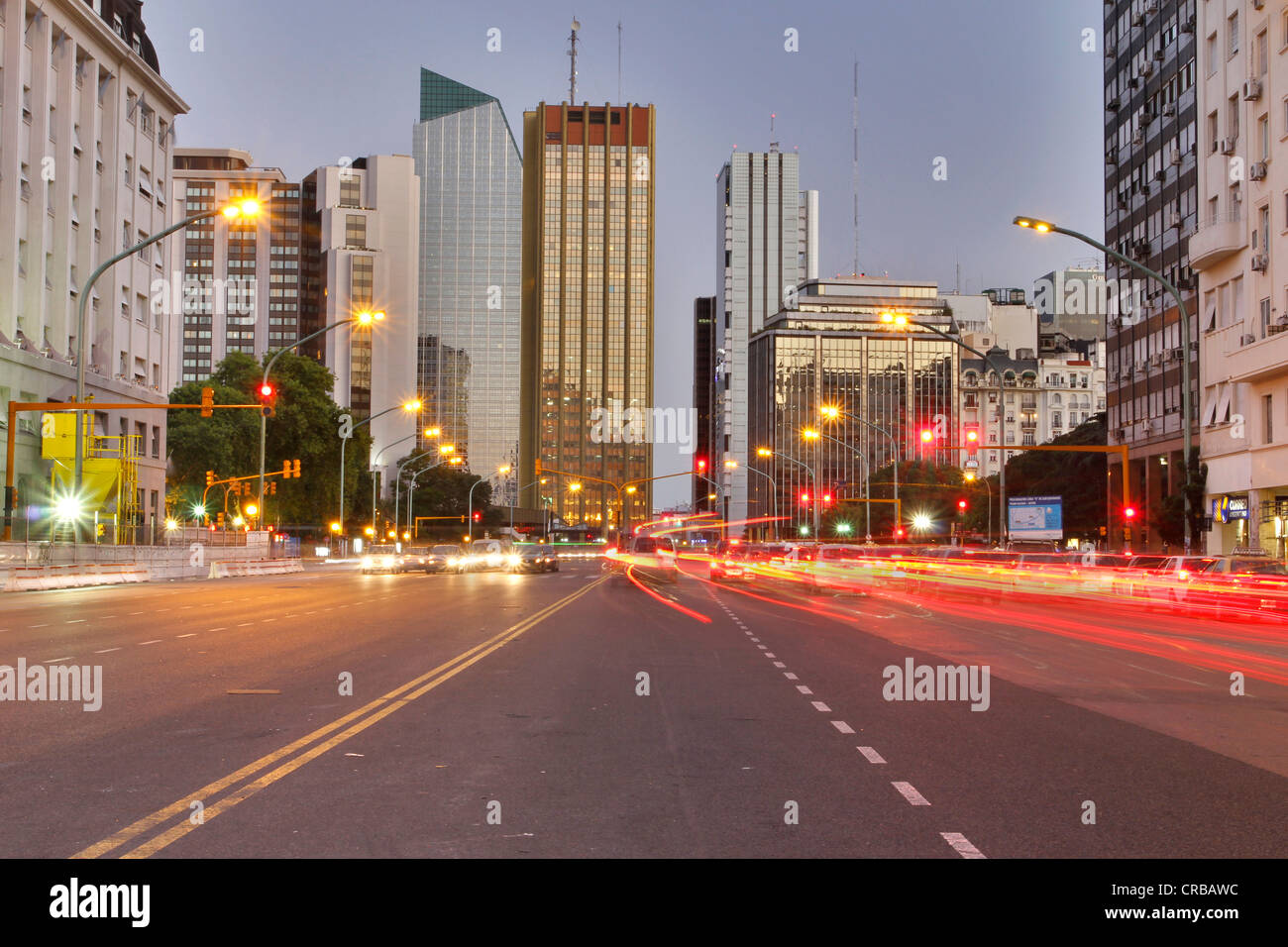 Junction in the evening light, Avenida del Libertador, Maipu, Buenos Aires, Argentina, South America - Stock Image
