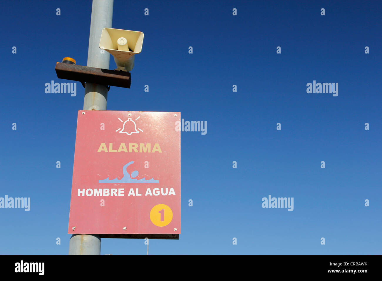 Alarm for a person in the sea, auxiliary station, Puerto Madryn Pier, Chubut Province, Argentina, South America - Stock Image