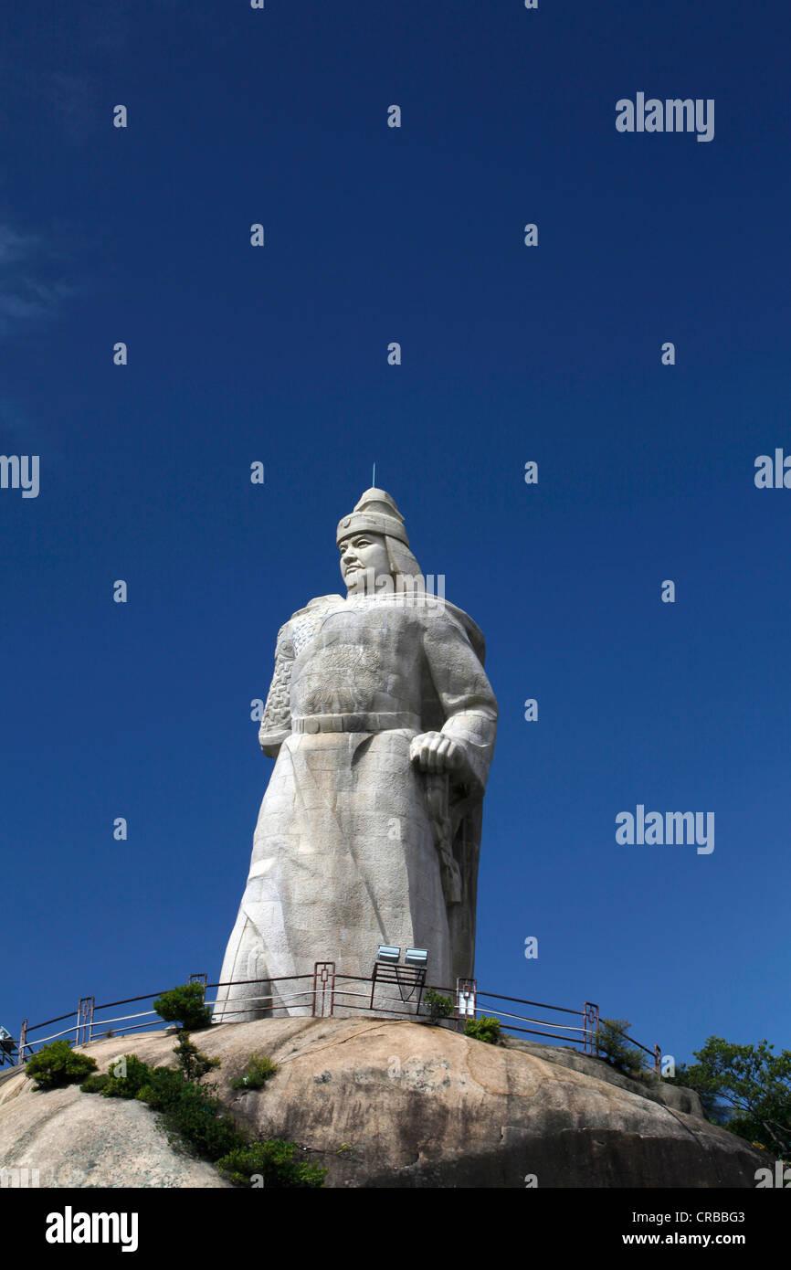 Stone statue of Zheng Chenggong on Gulangyu Island, Xiamen, also known as Amoy, Fujian province, China, Asia - Stock Image