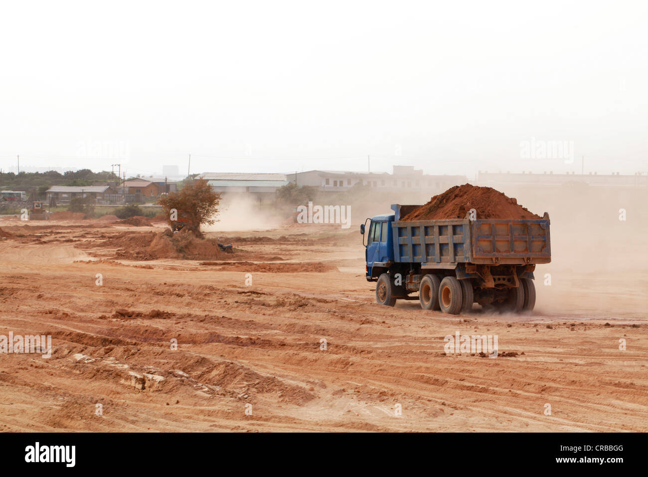 Truck on a construction site in Xiamen, also known as Amoy, Fujian province, China, Asia - Stock Image