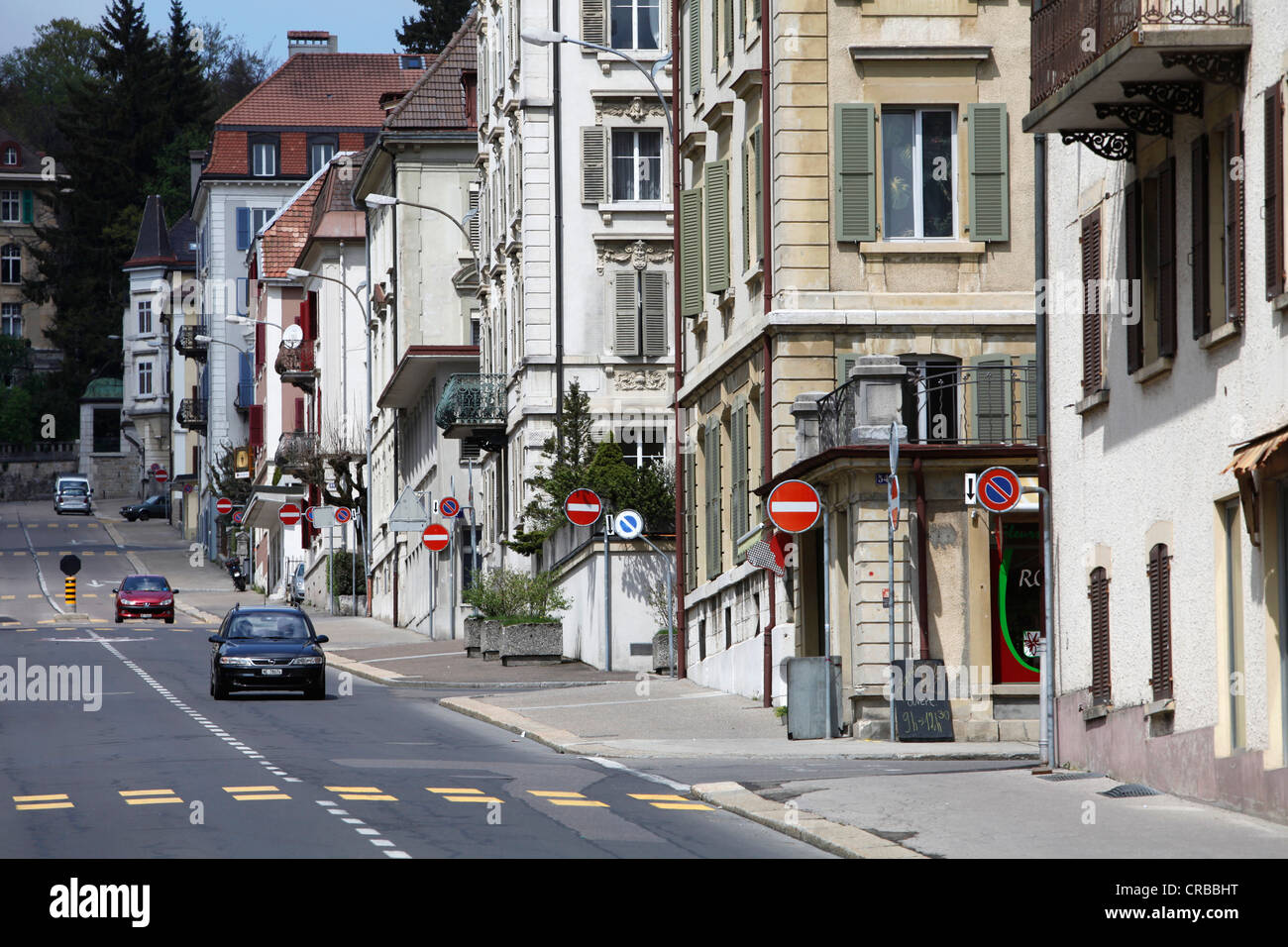 Street of the strictly geometrically designed city of La Chaux-de-Fonds, Canton Neuchatel, Switzerland, Europe - Stock Image