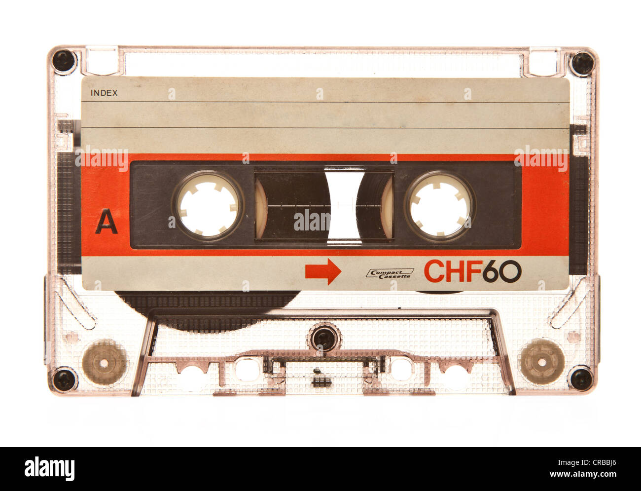 Old retro transparent audio cassette - Stock Image