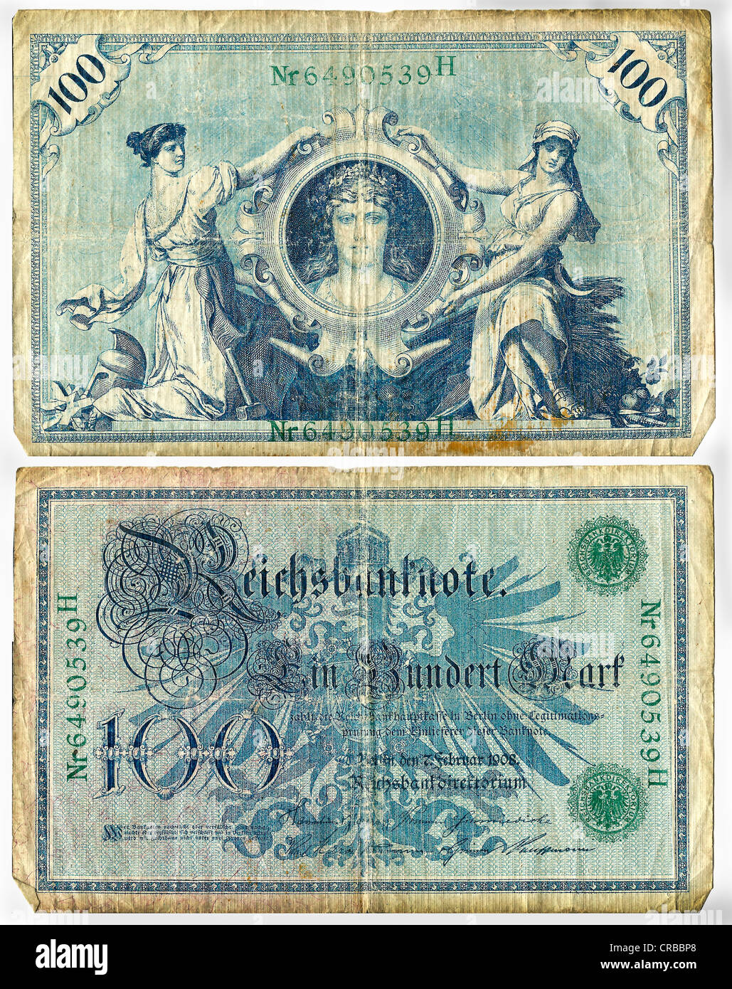 Reichsbanknote, front and rear, 100 Mark, Germany, circa 1908 Stock Photo