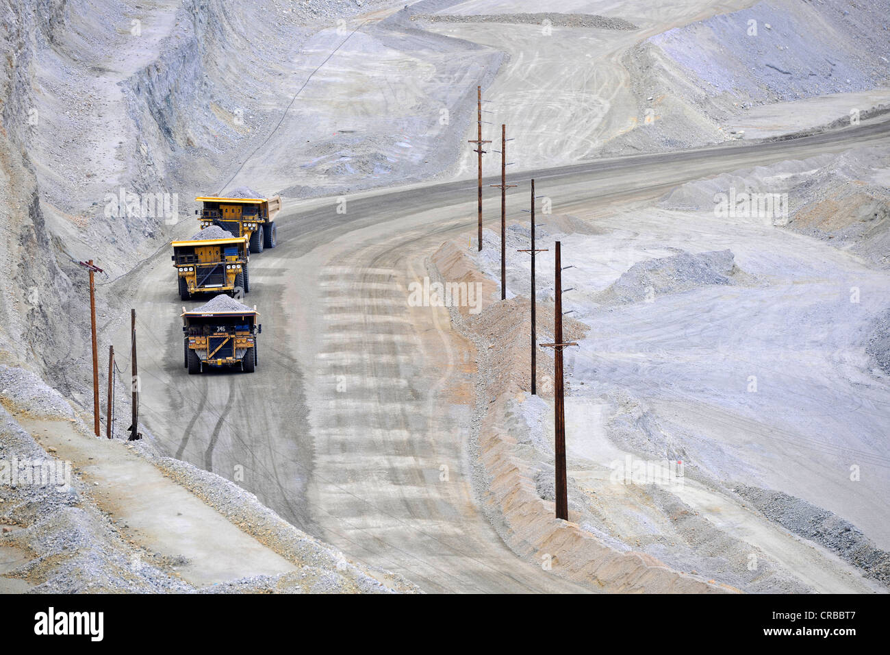 Special trucks, Bingham Canyon Mine or Kennecott Copper Mine, largest man-made pit in the world, Oquirrh Mountains Stock Photo