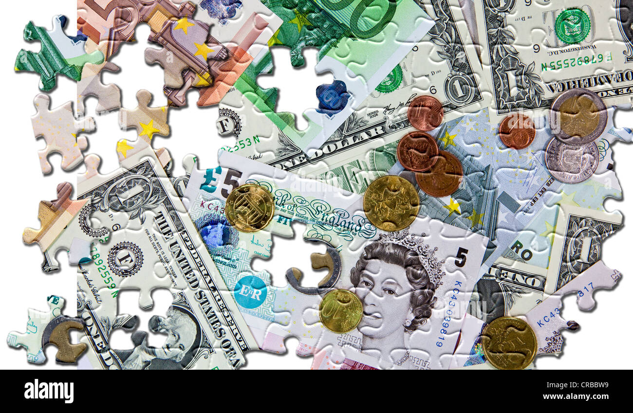 European currencies, bank notes and coins, puzzle falling to pieces, symbolic image for decline of the currencies - Stock Image