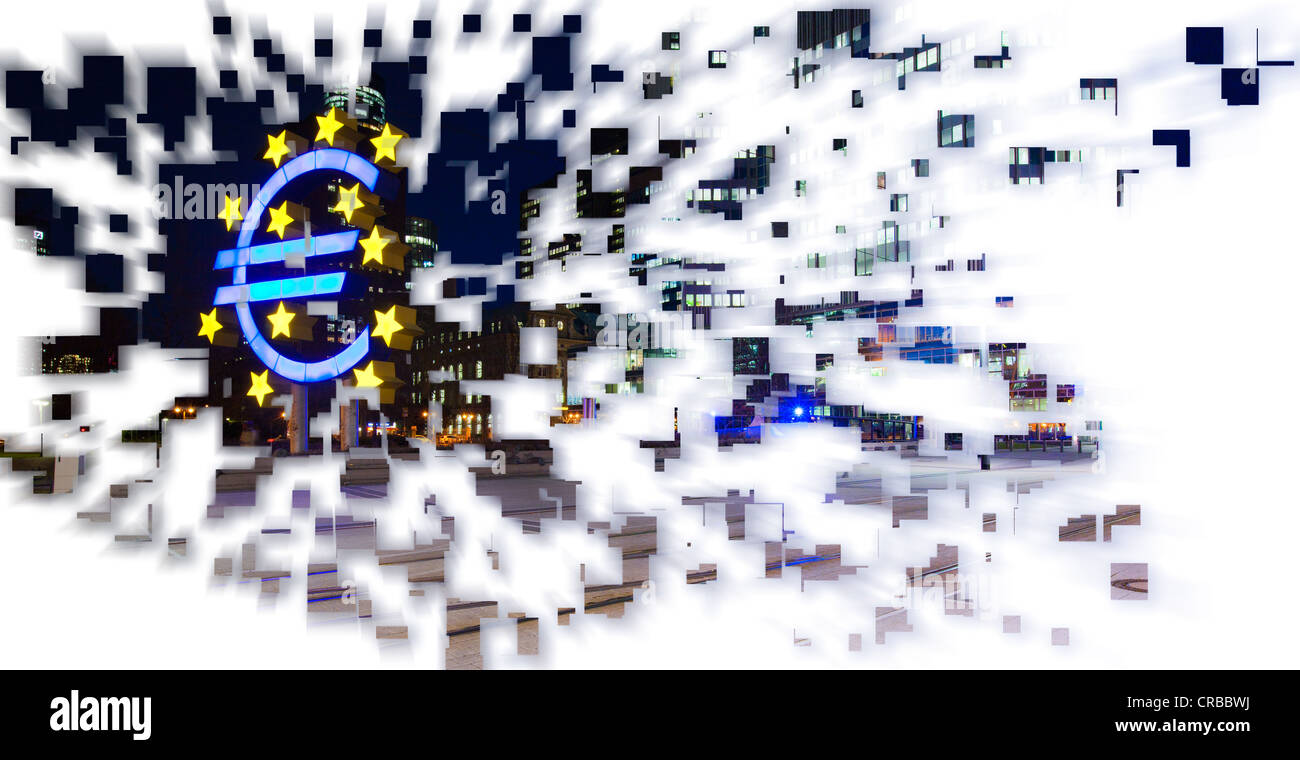Exploding euro symbol, symbolic image for a crash of the euro - Stock Image