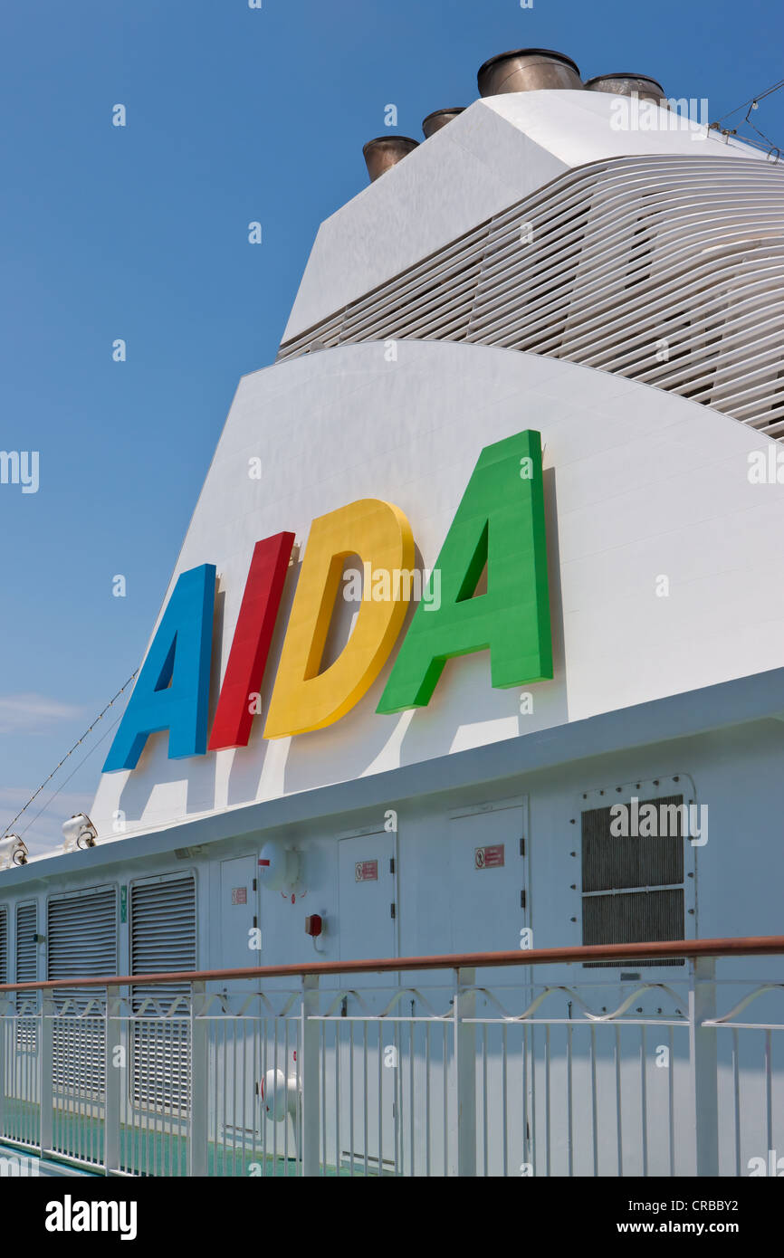 Aida Club Cruiser, logo on the funnel, Majorca, Spain, Europe - Attention: Restricted right of use! Please ALWAYS - Stock Image