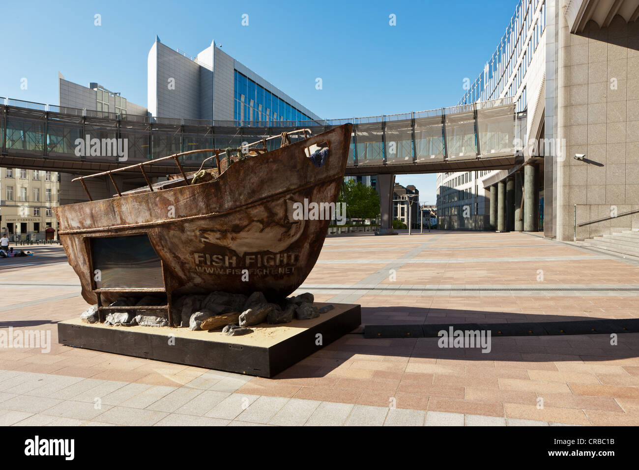 Fishing boat as a sculpture, 'Fish Fight' campaign against overfishing in the North Sea, European Parliament, - Stock Image