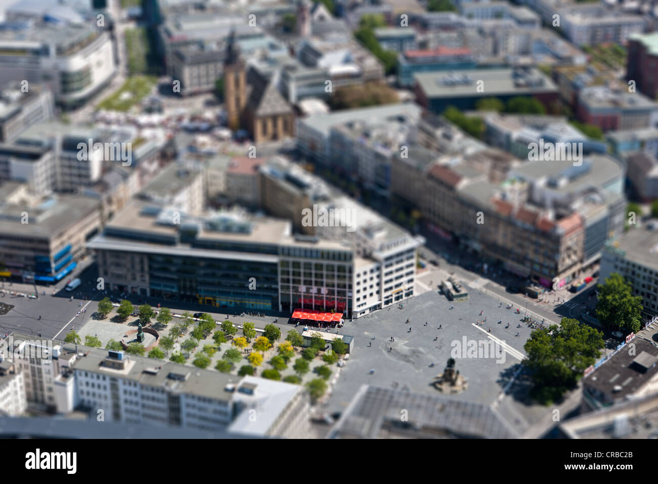 View over Rossmarkt and Goetheplatz squares, at the rear, the Zeil pedestrian zone, simulating a miniature scene - Stock Image