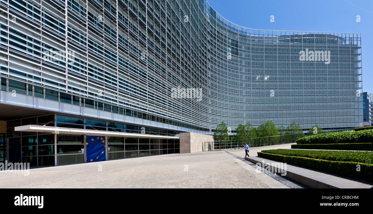 European Commission, the Berlaymont building, Brussels, Belgium, Europe - Stock Image