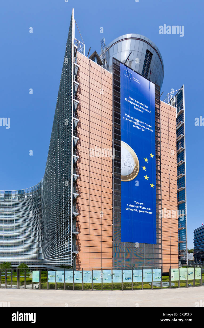 European Commission, the Berlaymont building, Brussels, Belgium, Europe, PublicGround - Stock Image