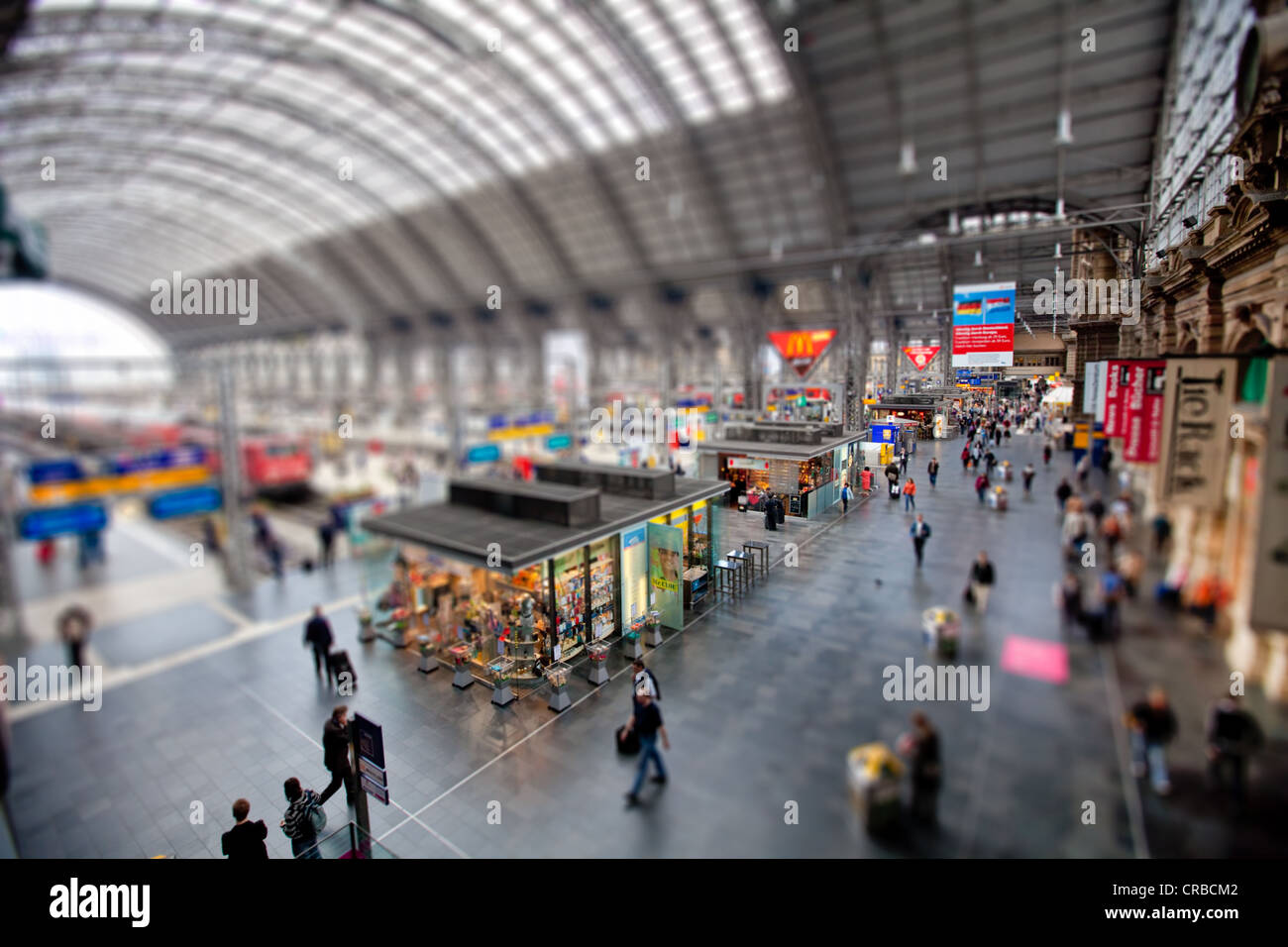 Frankfurt Central Railway Station, tilt-shift effect to give the impression of a miniature model due to reduced - Stock Image