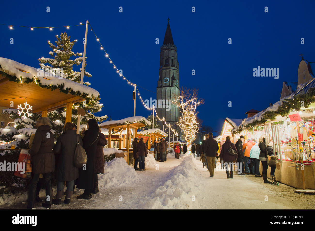 Christmas markets in winter, Landshut, Lower Bavaria, Bavaria, Germany, Europe - Stock Image