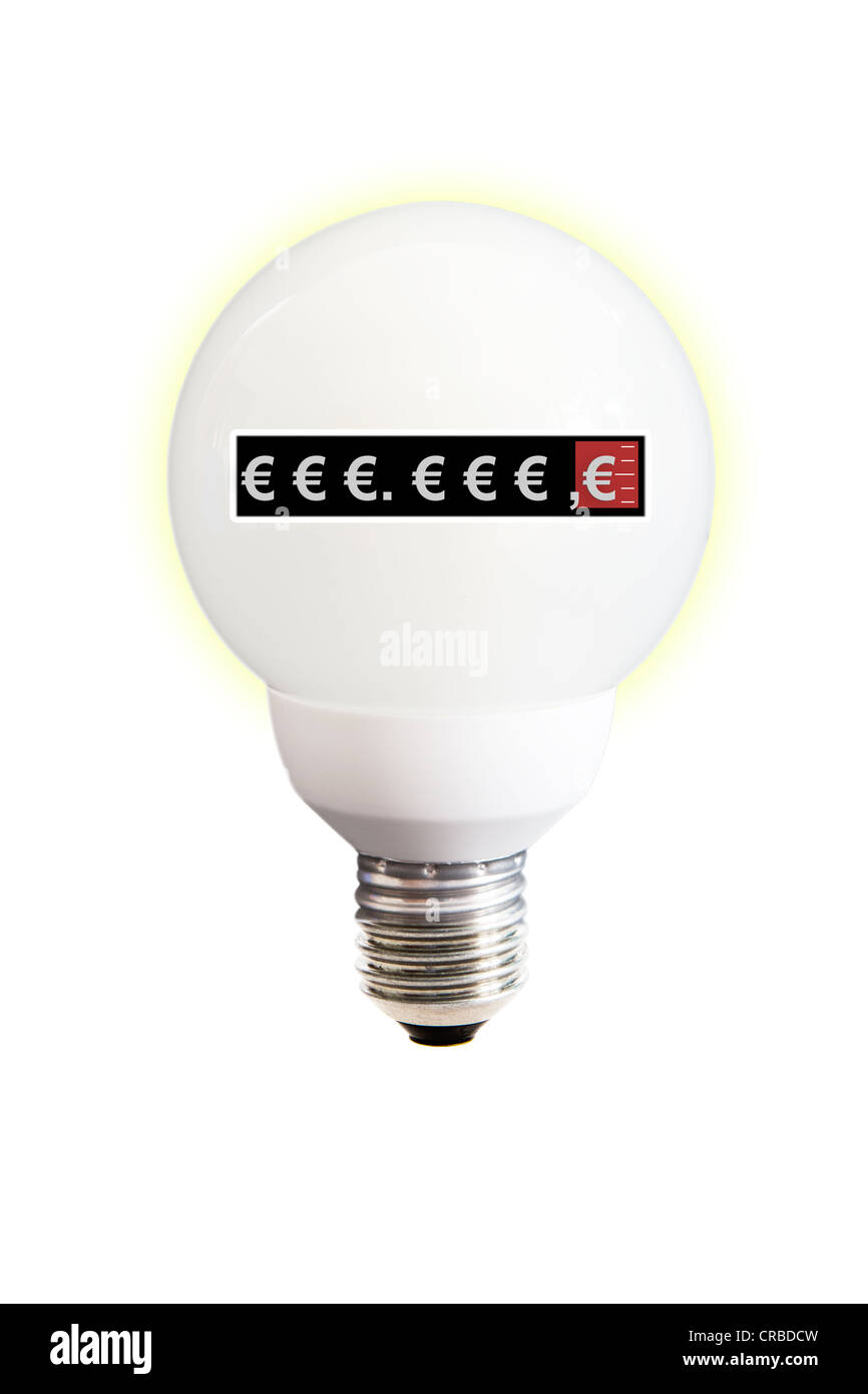 Energy saving lamp with electric meter, symbolic image for Stock