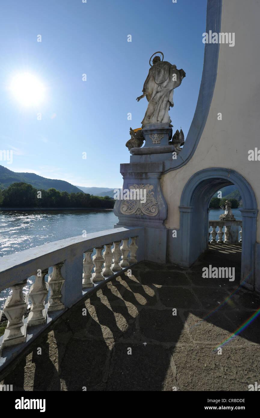 Baroque angel, gallery, monastery church of Duernstein abbey, Duernstein, UNESCO World Heritage Site Wachau Cultural - Stock Image