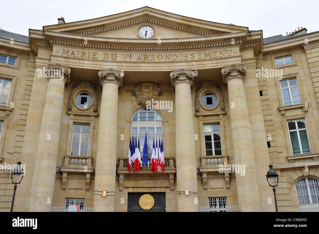 Mayor's office of the 5th Arrondissement, Montagne Sainte-Genevieve, Paris, France, Europe, PublicGround - Stock Image