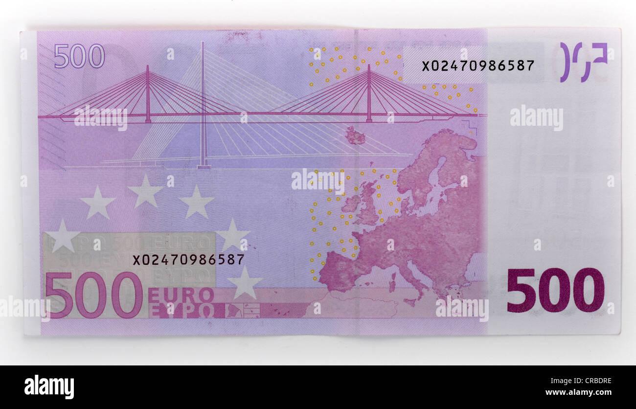 500-euro banknote, back Stock Photo