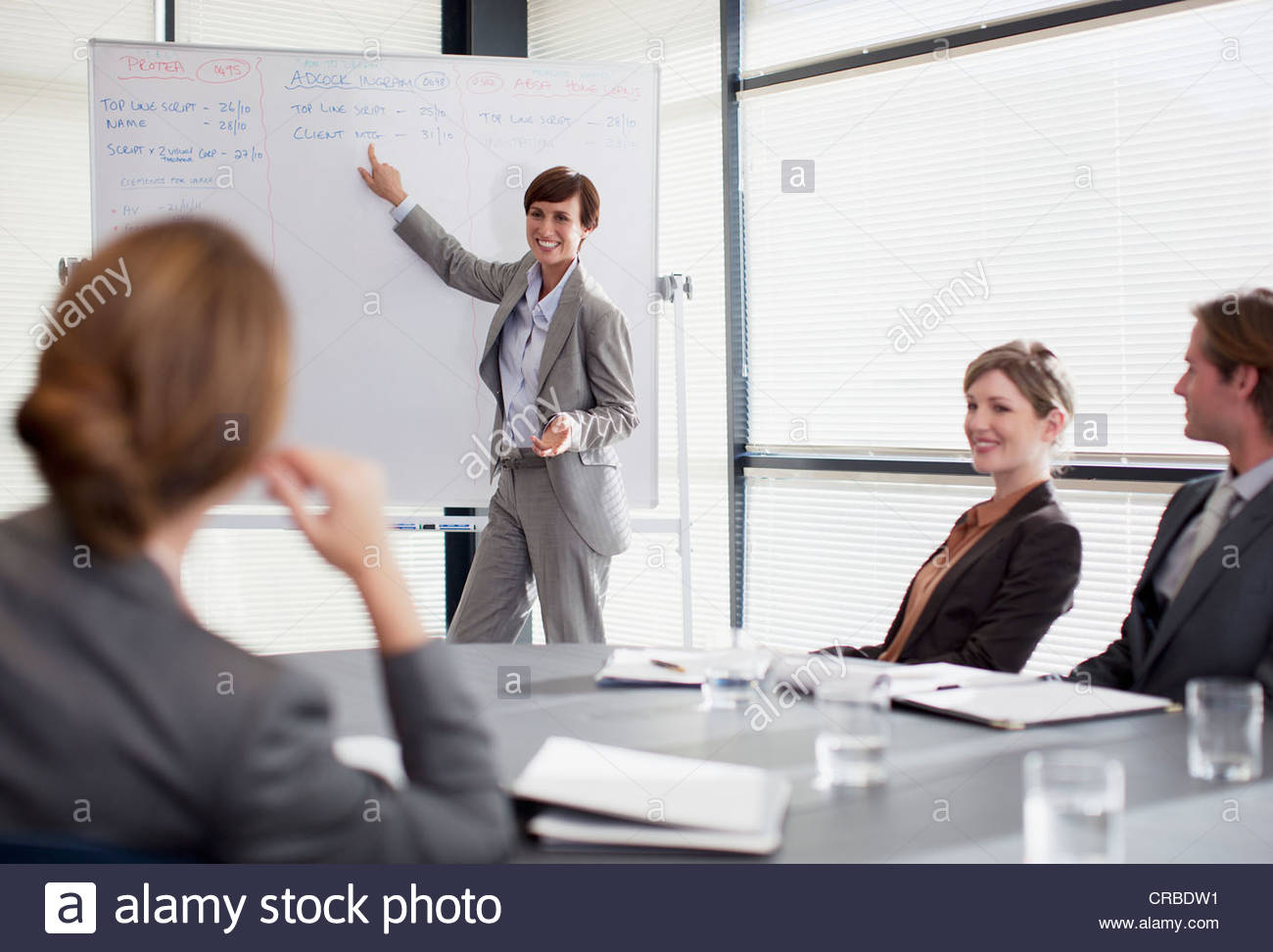Businesswoman at whiteboard presenting to co-workers - Stock Image