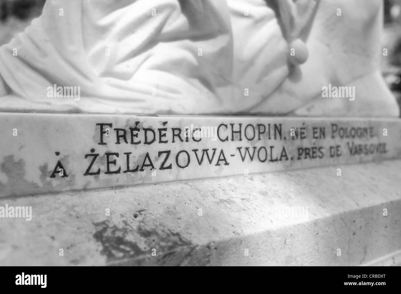 Inscription on the grave of Frédéric Chopin, Cimetière du Père Lachaise Cemetery, Paris, France, - Stock Image