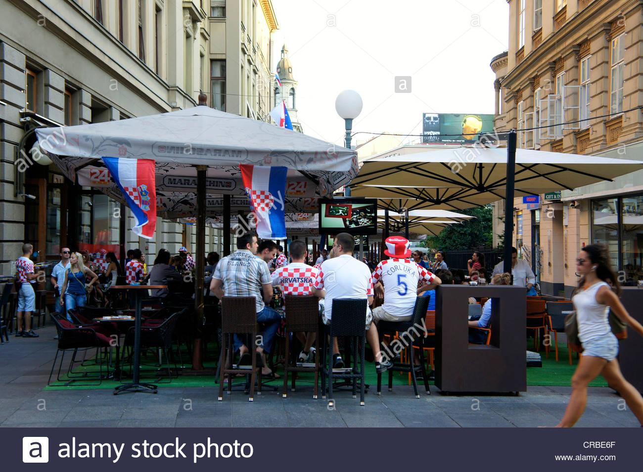 18th June 2012, Euro 2012. Croatian fans waiting for a football match in a cafe. Croatia vs Spain,Zagreb,Croatia - Stock Image