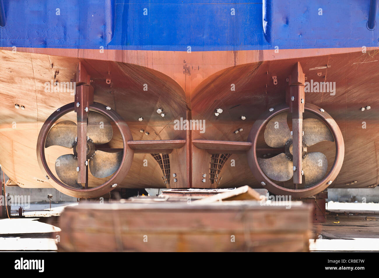 Propellers of ship on dry dock - Stock Image