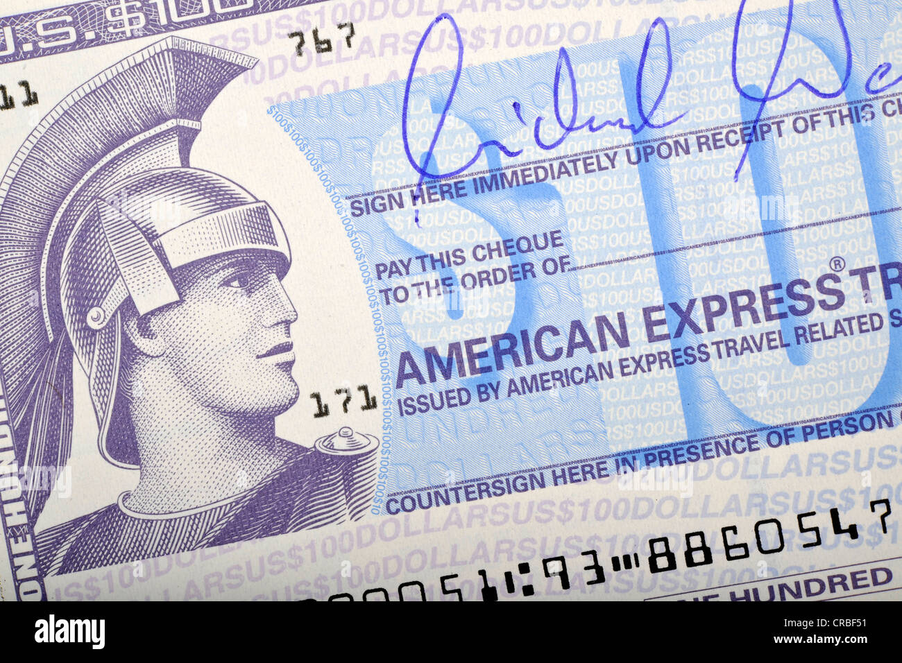 American Express Travellers Cheque, Traveller's Check - Stock Image