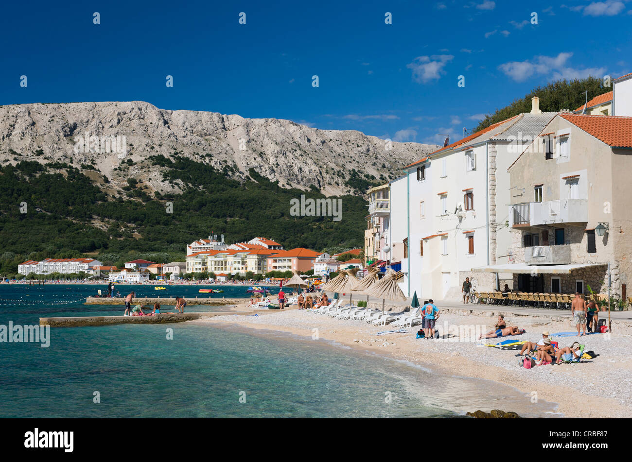 Beach of Baska, Krk island, Kvarner Gulf, Croatia, Europe - Stock Image