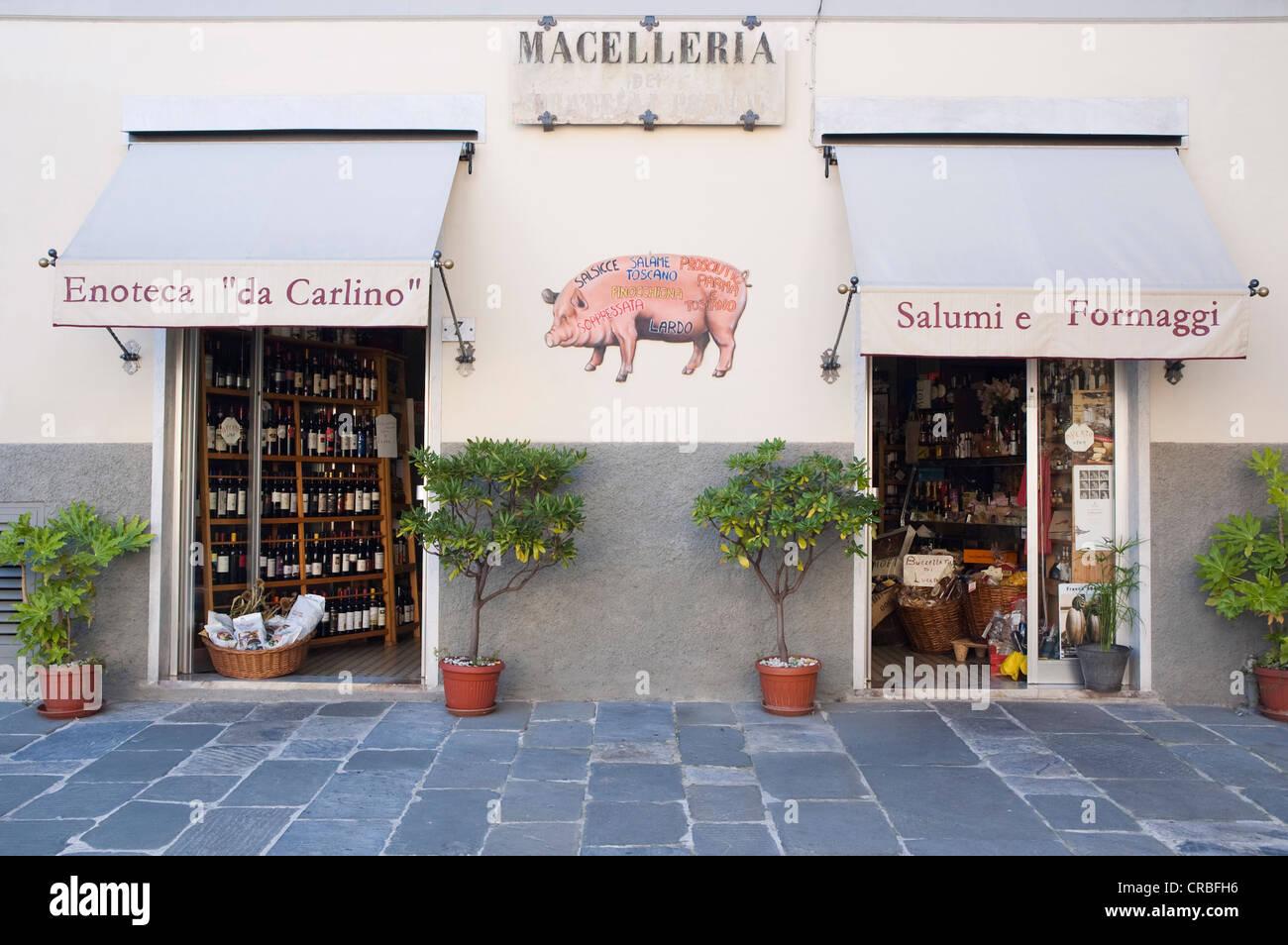 Enoteca 'da Carlino, delicatessen, Pietrasanta, Tuscany, Italy, Europe - Stock Image