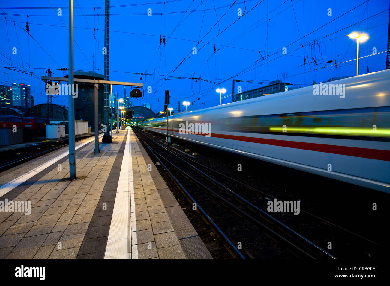 Intercity-Express, ICE train arriving at the main station, Frankfurt am Main, Hesse, Germany, Europe - Stock Image
