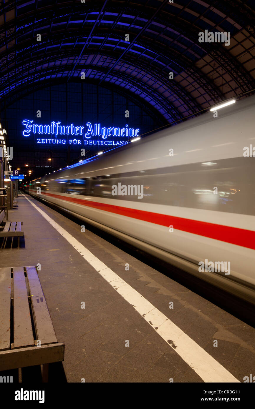 Intercity-Express, ICE train leaving the main station, Frankfurt am Main, Hesse, Germany, Europe - Stock Image