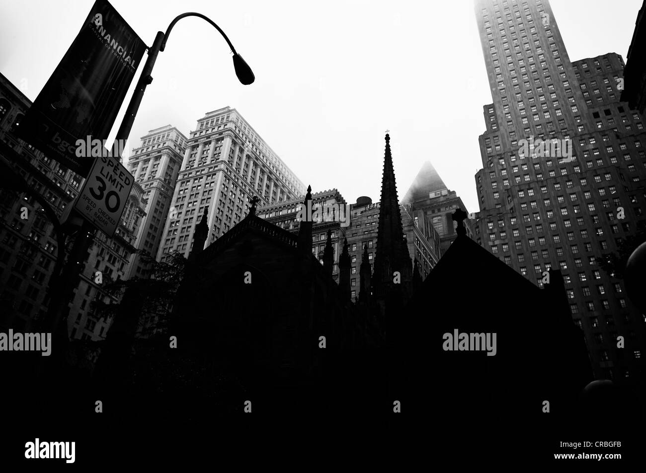 Trinity Church, Financial District, Manhattan, New York City, New York, USA - Stock Image