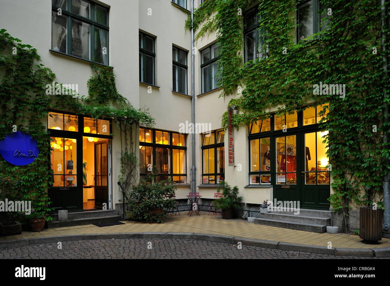 Shop, Hackesche Hoefe courtyards, Mitte district, Berlin, Germany, Europe - Stock Image