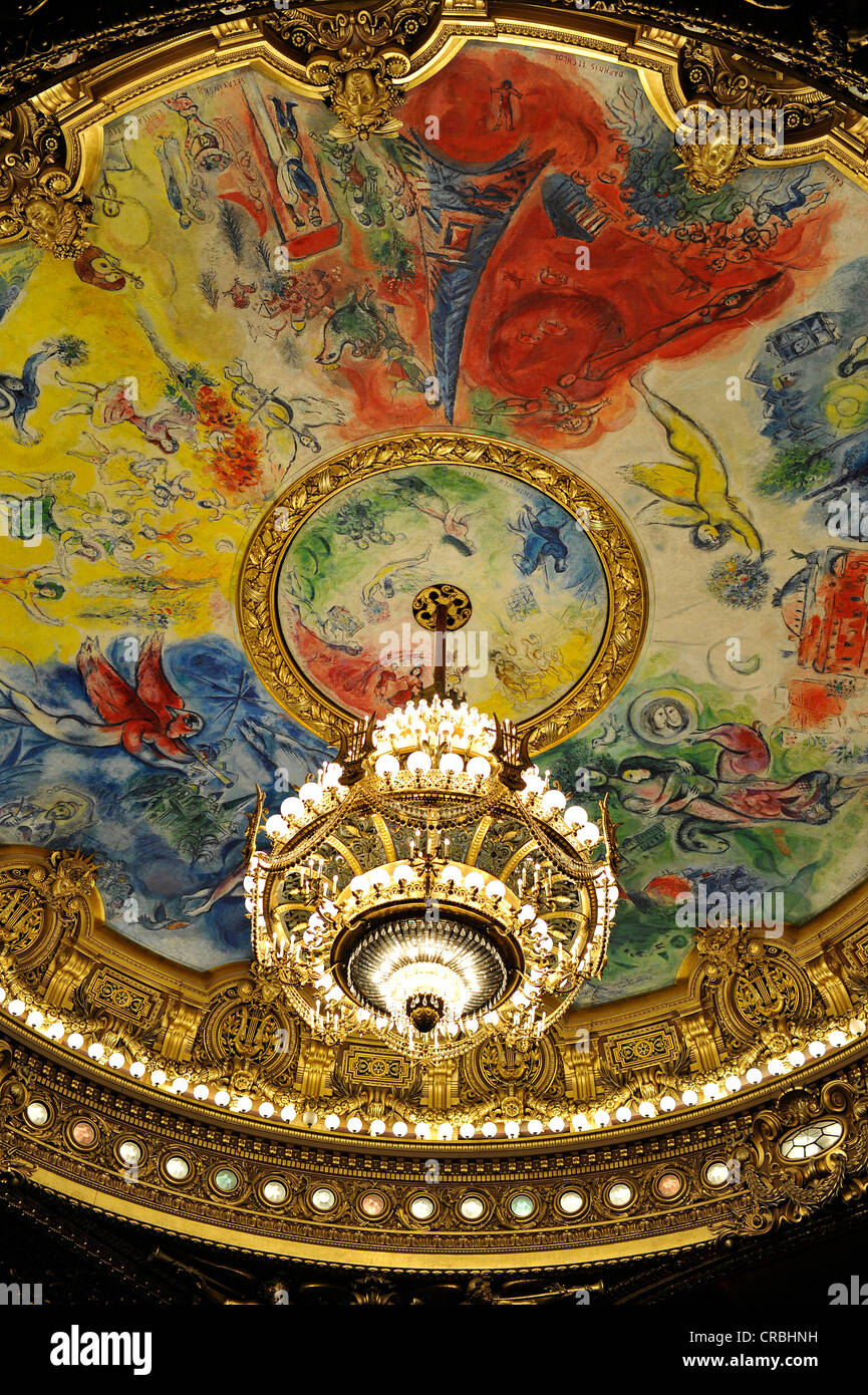 Interior, crystal chandelier and ceiling painting 'Apollo with the lyre' by Marc Chagall in the dome - Stock Image