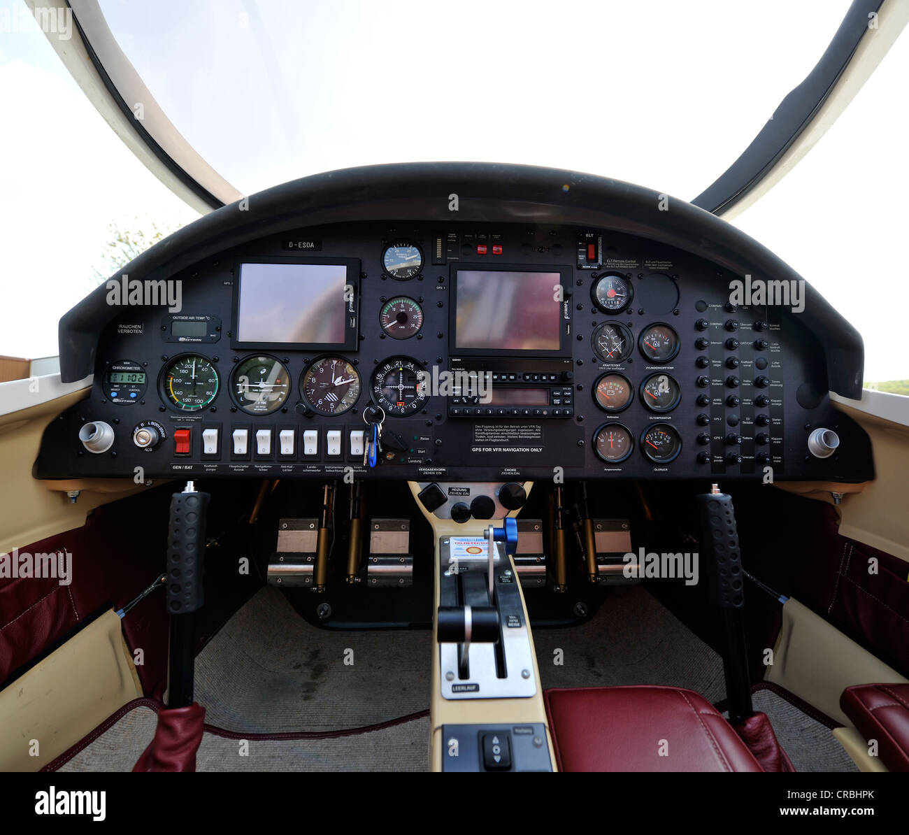 Glass cockpit, light aircraft D-ESOA Aquila A210 AT01 with VOR Very high frequency omnidirectional radio range, - Stock Image