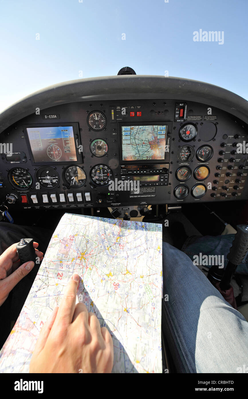 Instrument flight and map orientation, glass cockpit light aircraft, D-ESOA Aquila A210 AT01 - Stock Image
