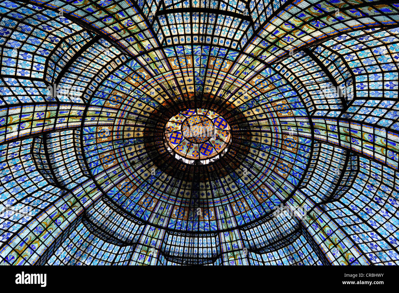 Art Nouveau Glass Dome With Stained Glass Printemps