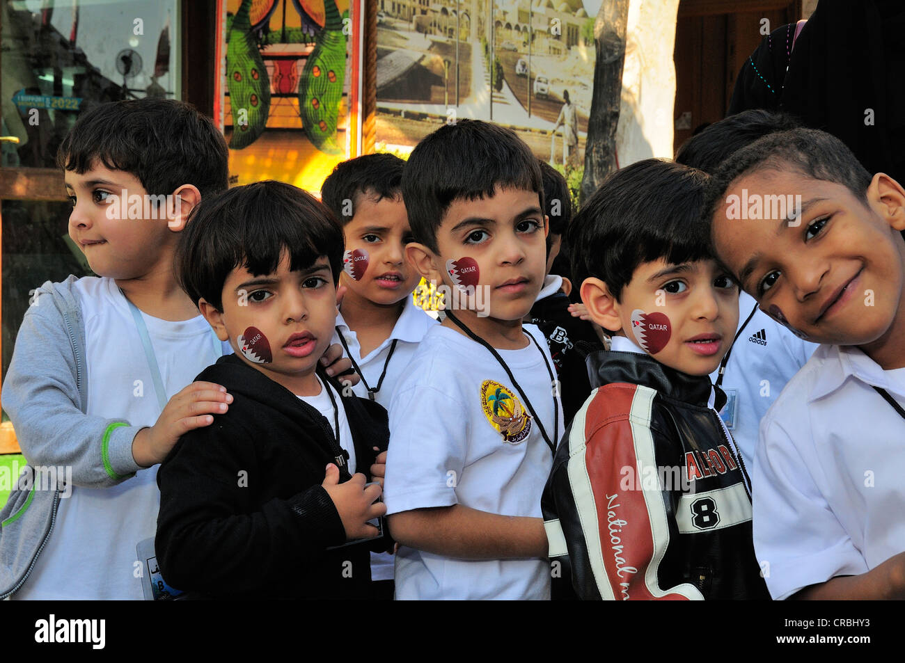Kindergarten, excursion in Souq Waqif, Doha, Qatar, Middle East - Stock Image