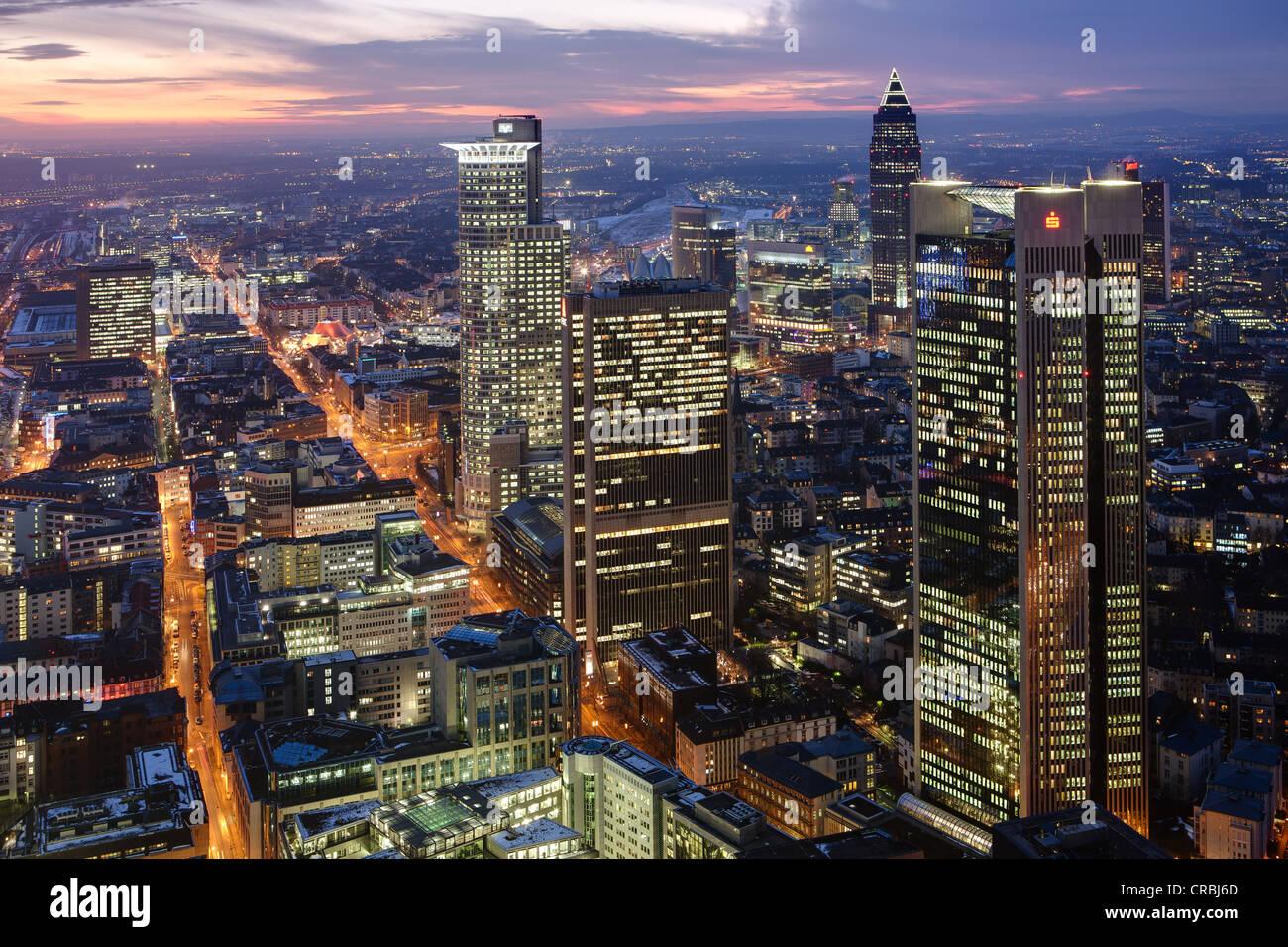 Skyline of Frankfurt, Frankfurt's Westend district, Trianon and Frankfurt Buero Center skyscrapers in front - Stock Image