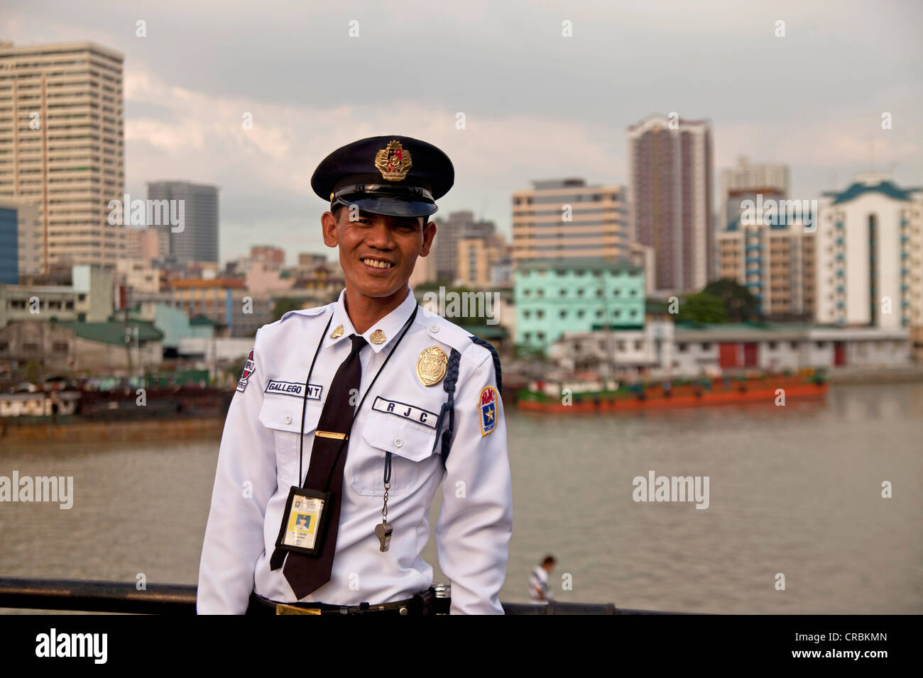 Uniformed security guard at Fort Santiago on the Pasig river, Manila, Philippines, Asia - Stock Image