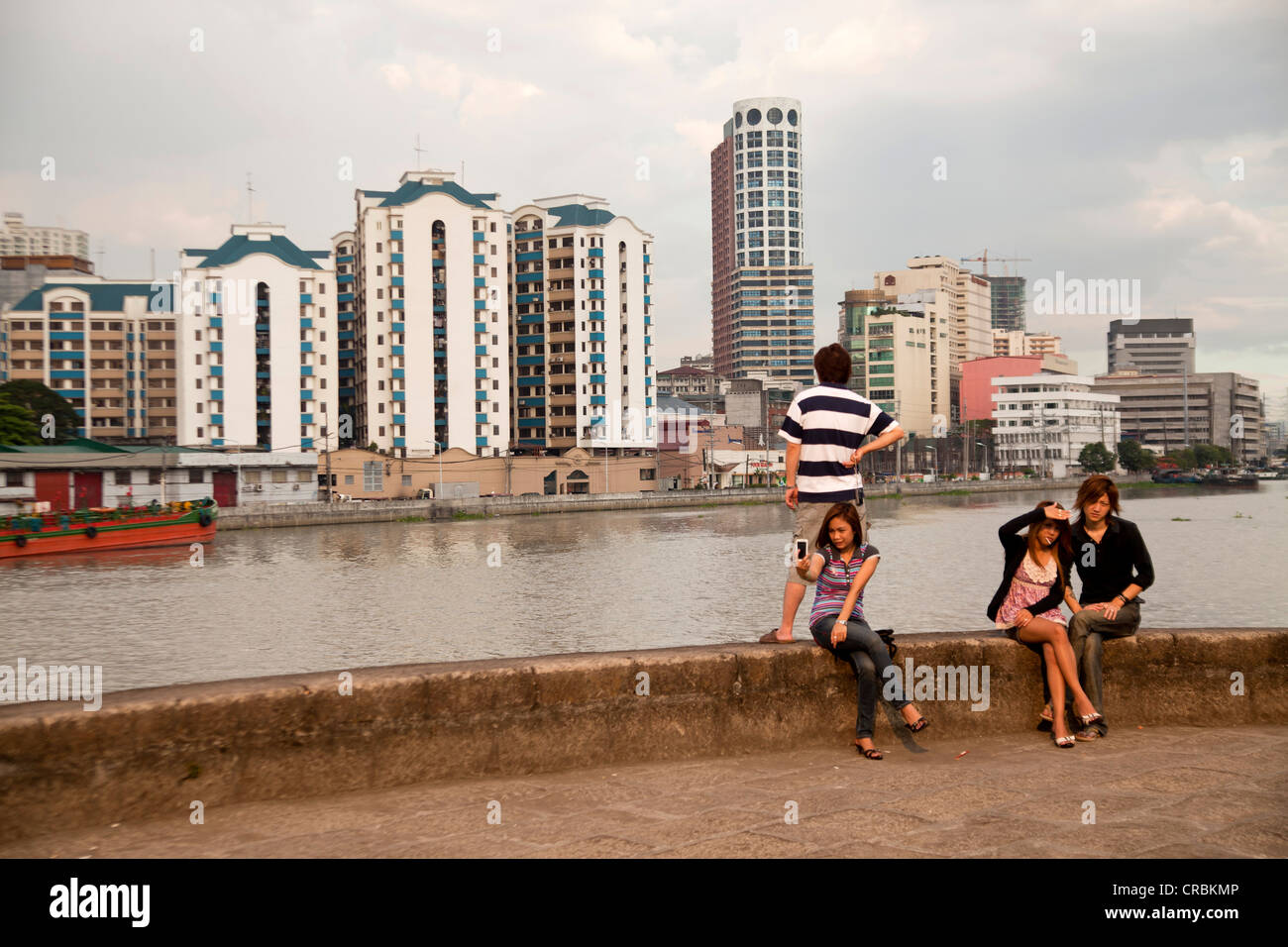 Teenagers at Fort Santiago on the Pasig river, Manila, Philippines, Asia - Stock Image