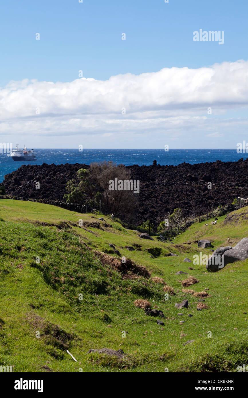 View over the 1961 lava field, Tristan da Cunha, South Atlantic Stock Photo