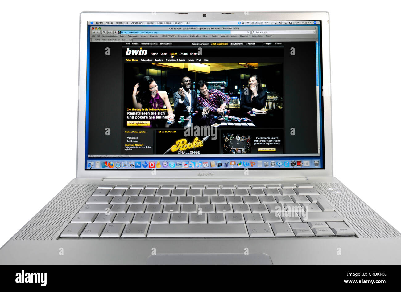 Poker online, BWin, Bet and Win, sports betting website, online betting, betting portal displayed on an Apple MacBook - Stock Image