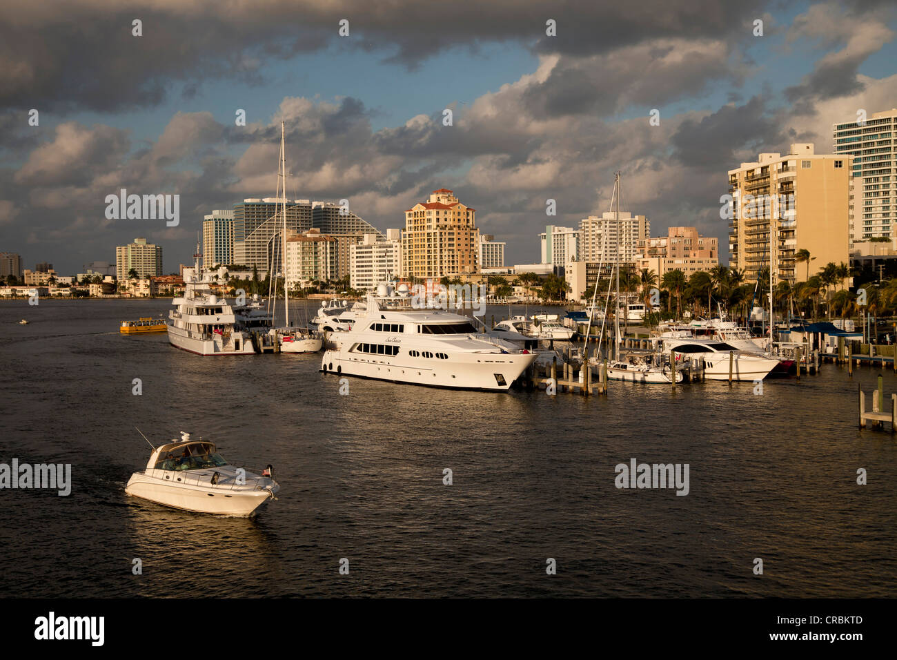 Yachts and canals, Fort Lauderdale, Broward County, Florida, USA - Stock Image