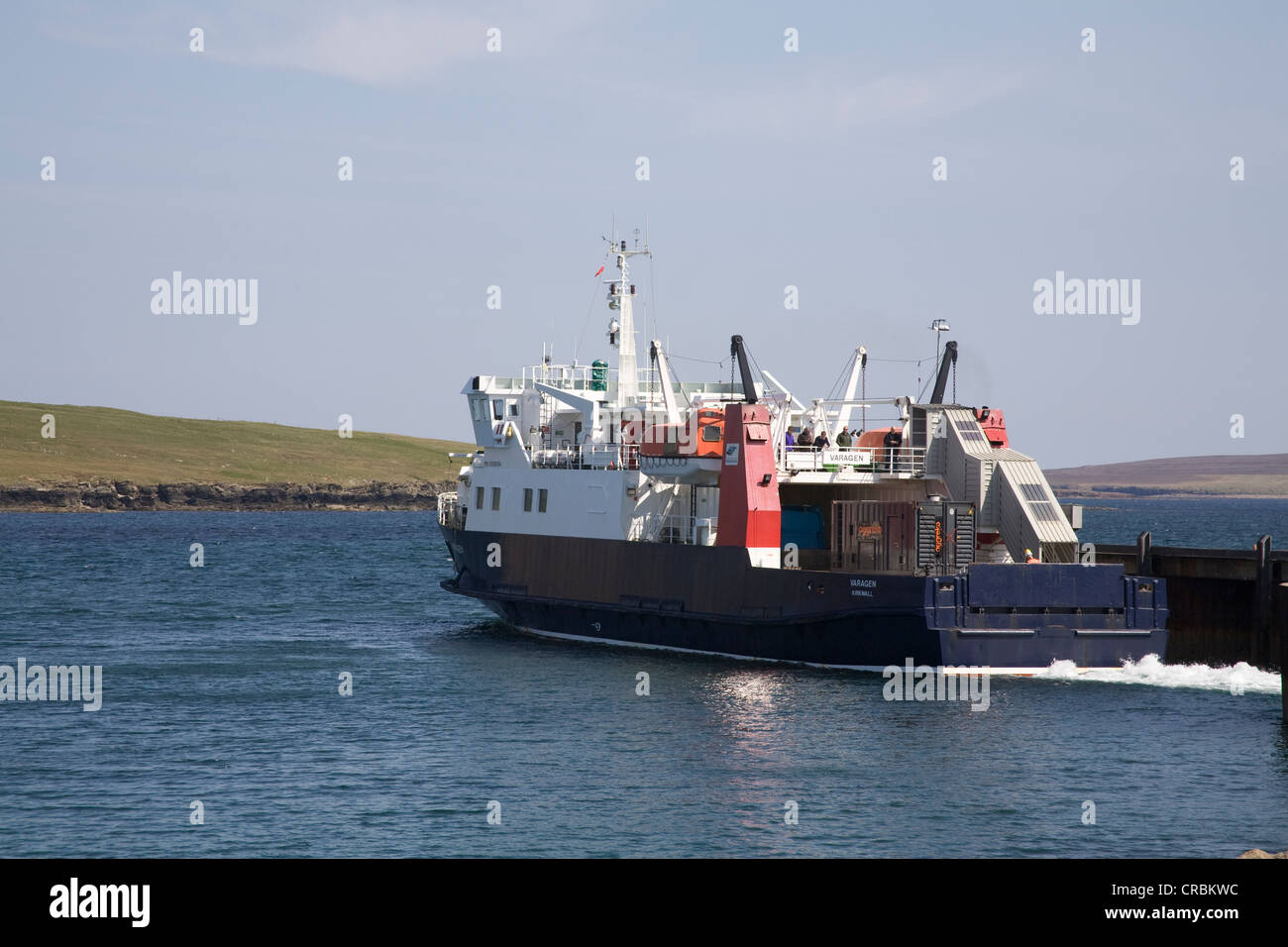Westray Orkney Island Scotland UK Ferry leaving Rapness Ferry Terminal for return journey to Kirkwall - Stock Image