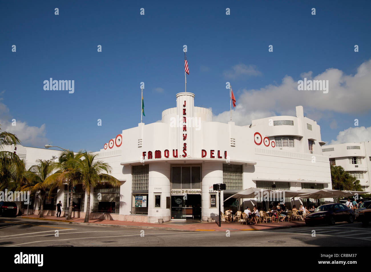 Jerrys Famous Deli in the Art Deco district of South Beach, Miami, Florida, USA - Stock Image