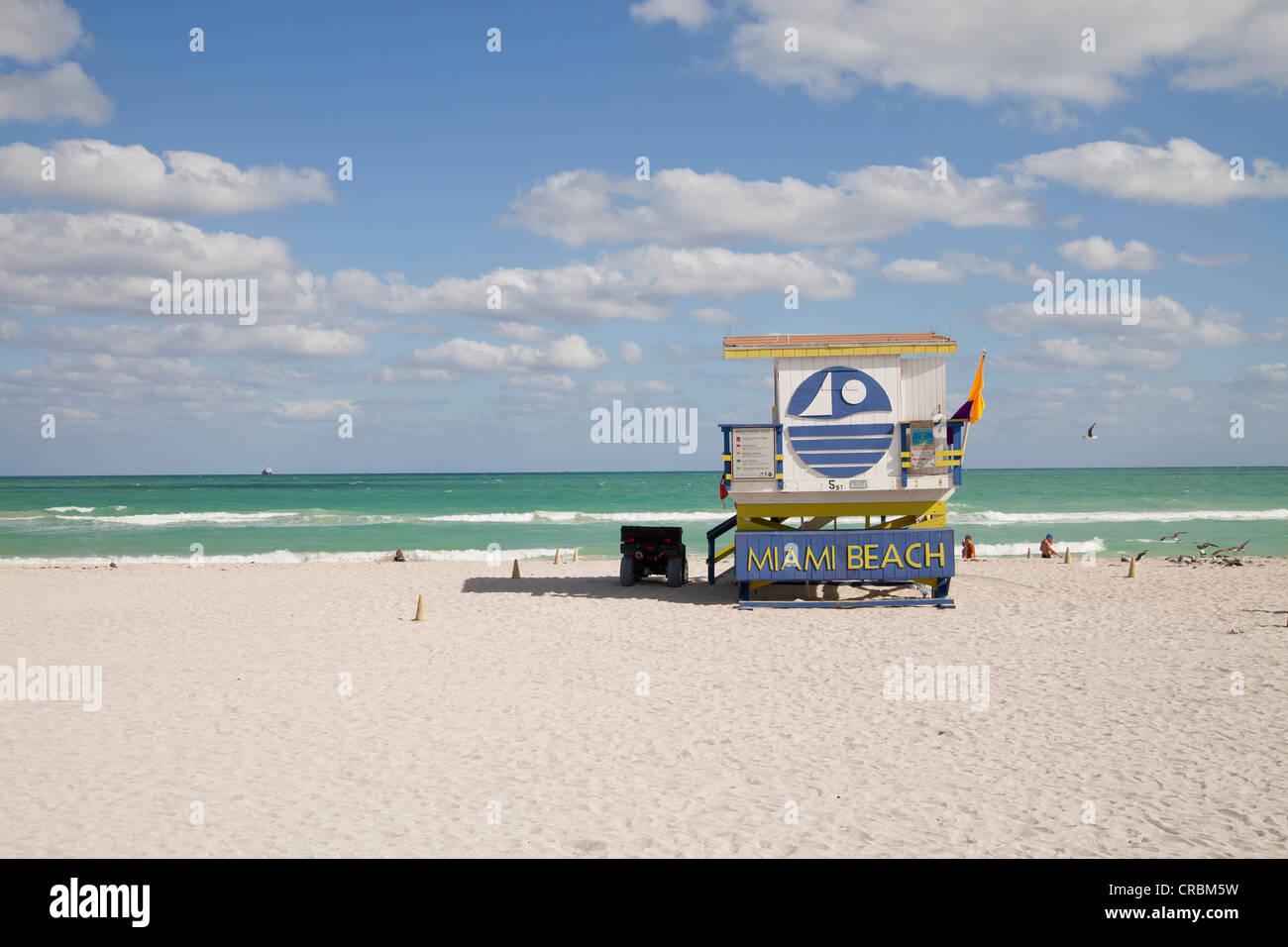 Lifeguard hut, 'Miami Beach' written on it, South Beach, Miami, Florida, USA - Stock Image
