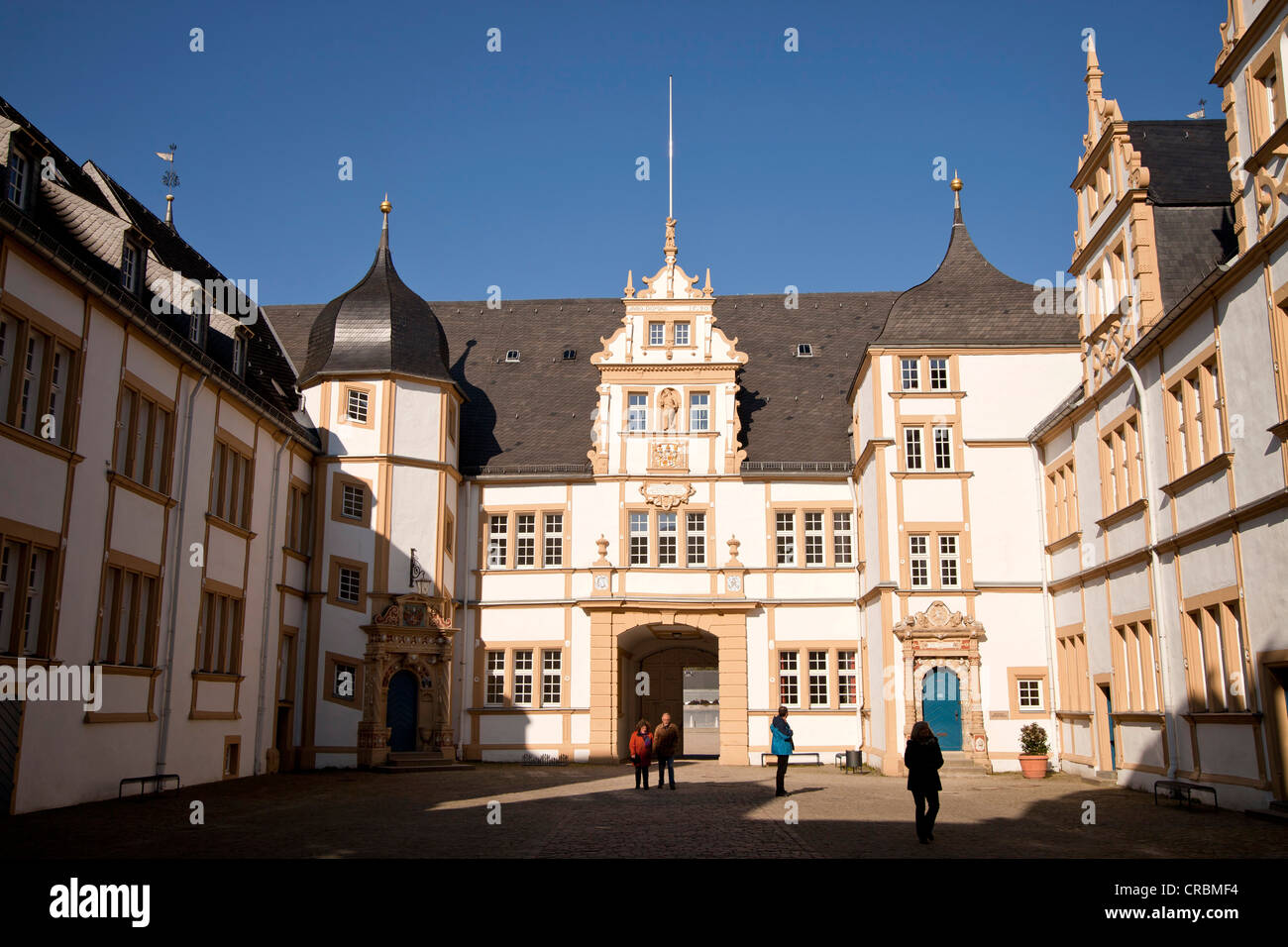 Courtyard of Schloss Neuhaus castle, an outstanding Weser-Renaissance building in Paderborn, North Rhine-Westphalia - Stock Image